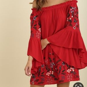 Umgee Red Embroidered Floral Bell Sleeve Dress S